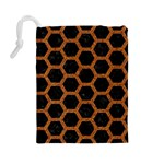 HEXAGON2 BLACK MARBLE & RUSTED METAL (R) Drawstring Pouches (Large)  Back