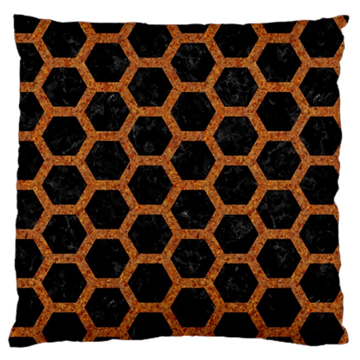 HEXAGON2 BLACK MARBLE & RUSTED METAL (R) Large Flano Cushion Case (One Side)