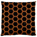 HEXAGON2 BLACK MARBLE & RUSTED METAL (R) Large Flano Cushion Case (Two Sides) Back