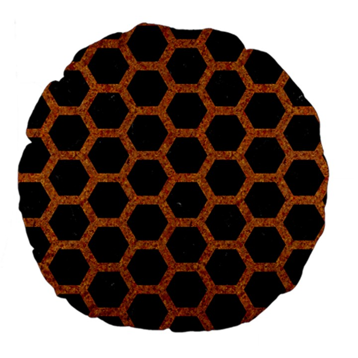 HEXAGON2 BLACK MARBLE & RUSTED METAL (R) Large 18  Premium Flano Round Cushions