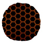 HEXAGON2 BLACK MARBLE & RUSTED METAL (R) Large 18  Premium Flano Round Cushions Back
