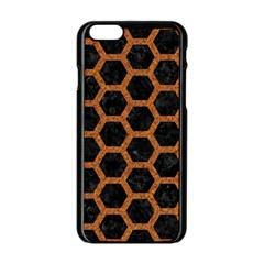 Hexagon2 Black Marble & Rusted Metal (r) Apple Iphone 6/6s Black Enamel Case