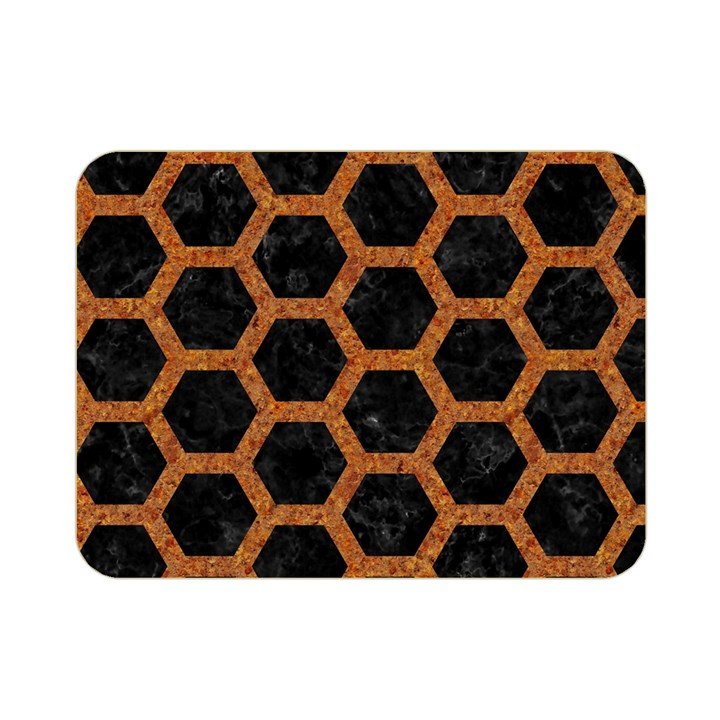 HEXAGON2 BLACK MARBLE & RUSTED METAL (R) Double Sided Flano Blanket (Mini)