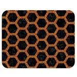 HEXAGON2 BLACK MARBLE & RUSTED METAL (R) Double Sided Flano Blanket (Medium)  60 x50 Blanket Front