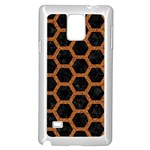 HEXAGON2 BLACK MARBLE & RUSTED METAL (R) Samsung Galaxy Note 4 Case (White) Front