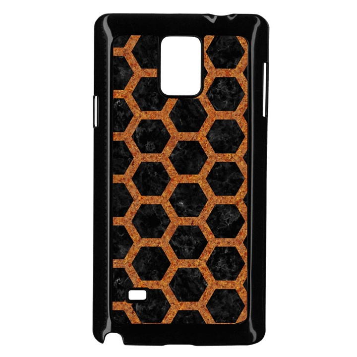 HEXAGON2 BLACK MARBLE & RUSTED METAL (R) Samsung Galaxy Note 4 Case (Black)