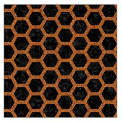 Hexagon2 Black Marble & Rusted Metal (r) Large Satin Scarf (square)