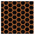 HEXAGON2 BLACK MARBLE & RUSTED METAL (R) Large Satin Scarf (Square) Front