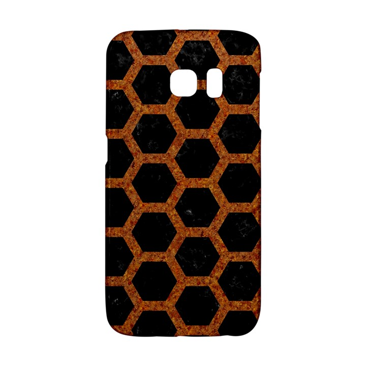 HEXAGON2 BLACK MARBLE & RUSTED METAL (R) Galaxy S6 Edge