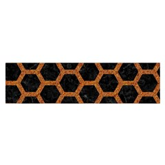 Hexagon2 Black Marble & Rusted Metal (r) Satin Scarf (oblong)