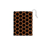HEXAGON2 BLACK MARBLE & RUSTED METAL (R) Drawstring Pouches (XS)  Front