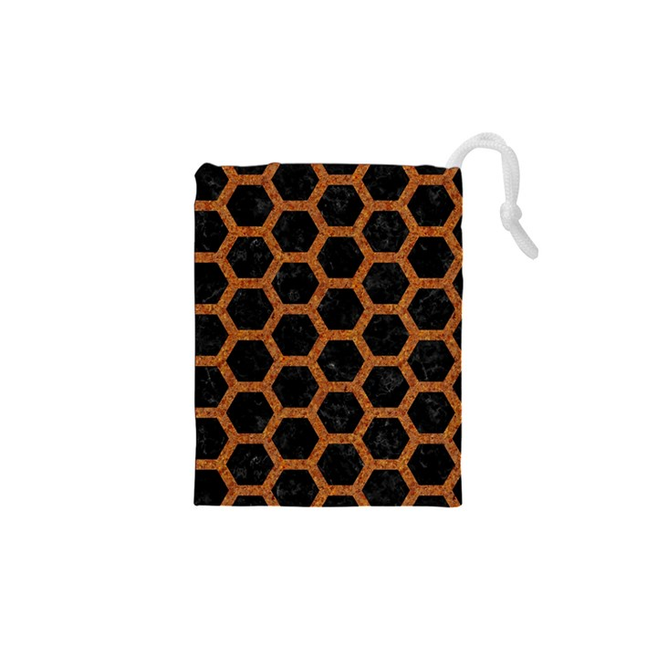 HEXAGON2 BLACK MARBLE & RUSTED METAL (R) Drawstring Pouches (XS)