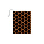 HEXAGON2 BLACK MARBLE & RUSTED METAL (R) Drawstring Pouches (XS)  Back