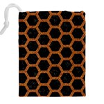 HEXAGON2 BLACK MARBLE & RUSTED METAL (R) Drawstring Pouches (XXL) Back