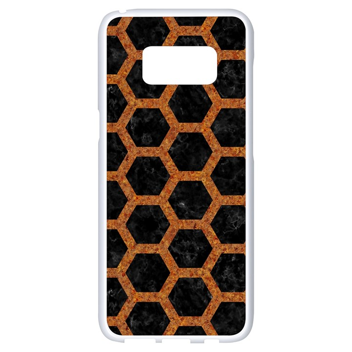 HEXAGON2 BLACK MARBLE & RUSTED METAL (R) Samsung Galaxy S8 White Seamless Case