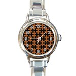 PUZZLE1 BLACK MARBLE & RUSTED METAL Round Italian Charm Watch Front