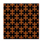 PUZZLE1 BLACK MARBLE & RUSTED METAL Tile Coasters Front