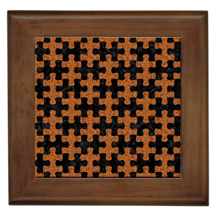 PUZZLE1 BLACK MARBLE & RUSTED METAL Framed Tiles