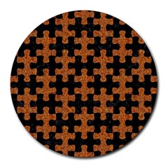 Puzzle1 Black Marble & Rusted Metal Round Mousepads