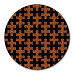 PUZZLE1 BLACK MARBLE & RUSTED METAL Round Mousepads Front