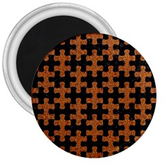 Puzzle1 Black Marble & Rusted Metal 3  Magnets