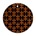 PUZZLE1 BLACK MARBLE & RUSTED METAL Ornament (Round) Front