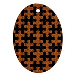 PUZZLE1 BLACK MARBLE & RUSTED METAL Ornament (Oval) Front