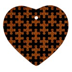 PUZZLE1 BLACK MARBLE & RUSTED METAL Ornament (Heart) Front