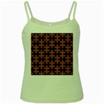 PUZZLE1 BLACK MARBLE & RUSTED METAL Green Spaghetti Tank Front