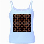 PUZZLE1 BLACK MARBLE & RUSTED METAL Baby Blue Spaghetti Tank Front