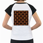 PUZZLE1 BLACK MARBLE & RUSTED METAL Women s Cap Sleeve T Back