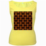 PUZZLE1 BLACK MARBLE & RUSTED METAL Women s Yellow Tank Top Front