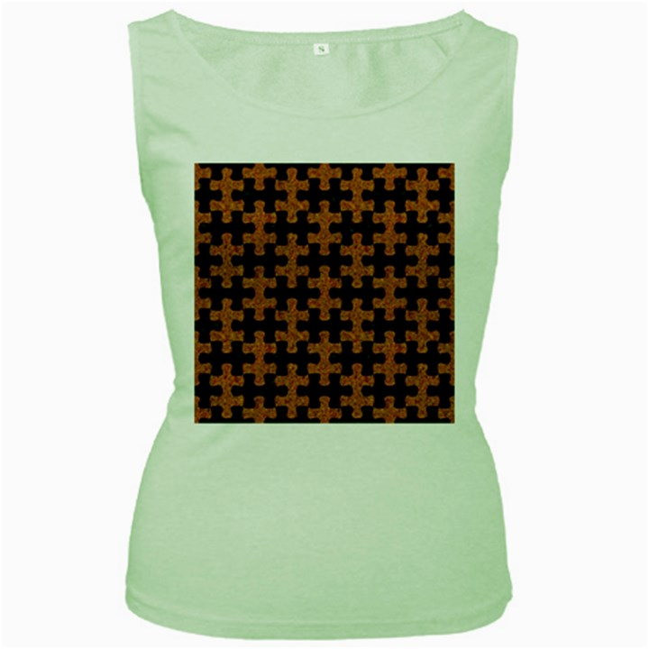 PUZZLE1 BLACK MARBLE & RUSTED METAL Women s Green Tank Top