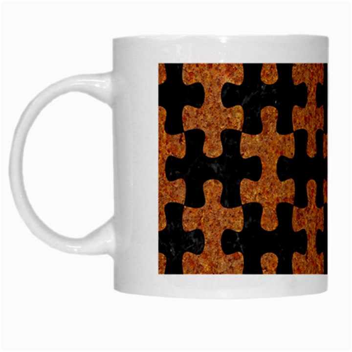 PUZZLE1 BLACK MARBLE & RUSTED METAL White Mugs