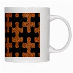 PUZZLE1 BLACK MARBLE & RUSTED METAL White Mugs Right