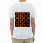 PUZZLE1 BLACK MARBLE & RUSTED METAL Men s T-Shirt (White) (Two Sided) Back