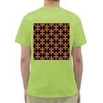 PUZZLE1 BLACK MARBLE & RUSTED METAL Green T-Shirt Back