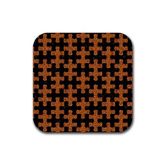 Puzzle1 Black Marble & Rusted Metal Rubber Coaster (square)