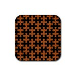 PUZZLE1 BLACK MARBLE & RUSTED METAL Rubber Coaster (Square)  Front