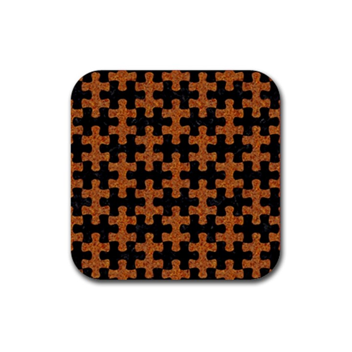 PUZZLE1 BLACK MARBLE & RUSTED METAL Rubber Square Coaster (4 pack)