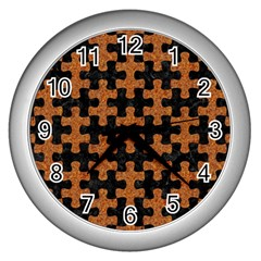Puzzle1 Black Marble & Rusted Metal Wall Clocks (silver)
