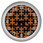 PUZZLE1 BLACK MARBLE & RUSTED METAL Wall Clocks (Silver)  Front