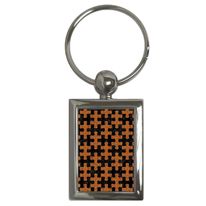 PUZZLE1 BLACK MARBLE & RUSTED METAL Key Chains (Rectangle)