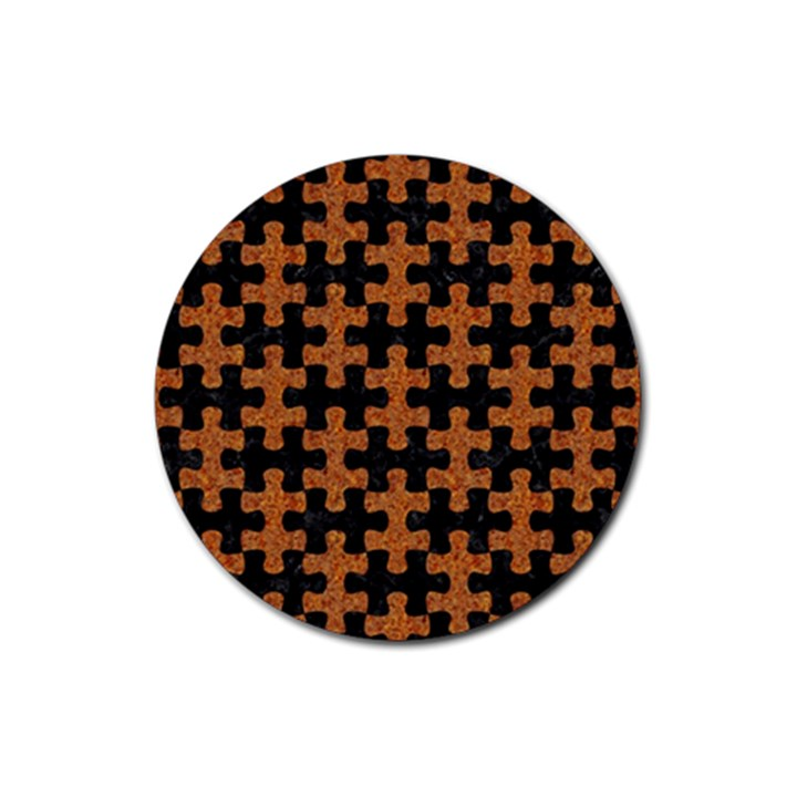 PUZZLE1 BLACK MARBLE & RUSTED METAL Rubber Coaster (Round)