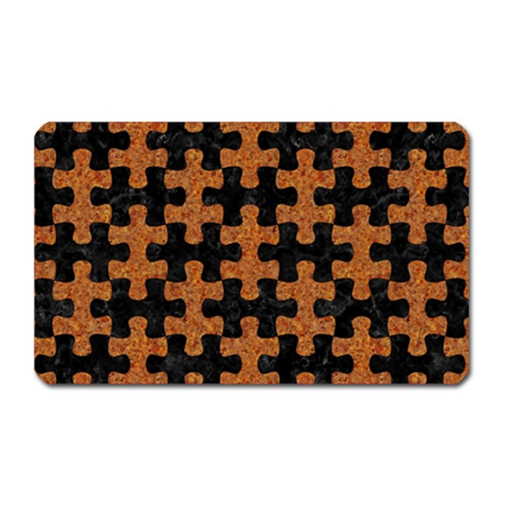PUZZLE1 BLACK MARBLE & RUSTED METAL Magnet (Rectangular)