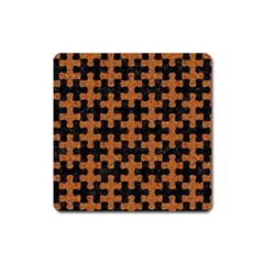 Puzzle1 Black Marble & Rusted Metal Square Magnet