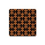 PUZZLE1 BLACK MARBLE & RUSTED METAL Square Magnet Front