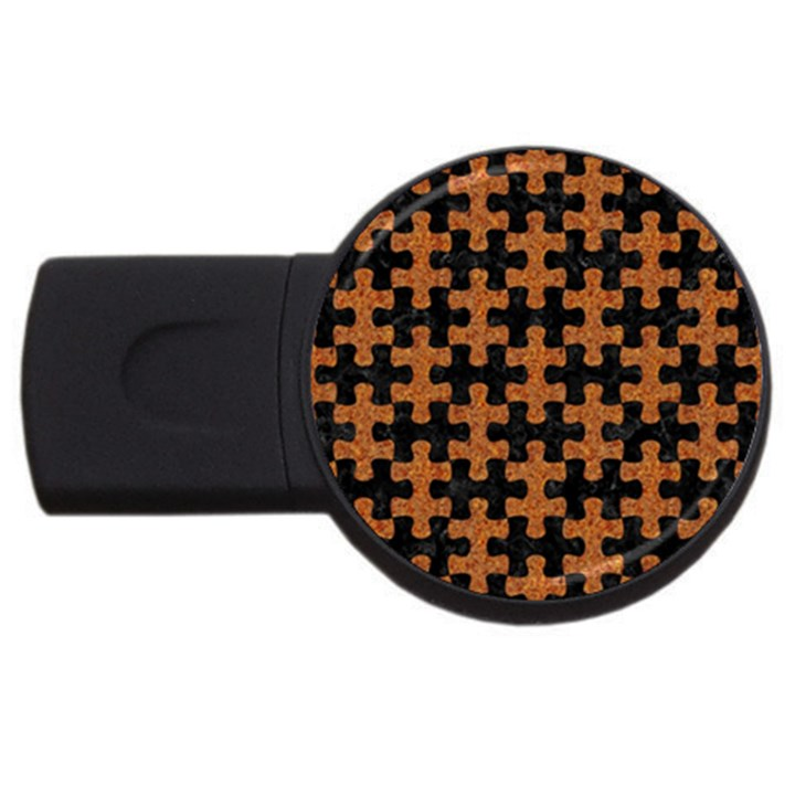 PUZZLE1 BLACK MARBLE & RUSTED METAL USB Flash Drive Round (2 GB)