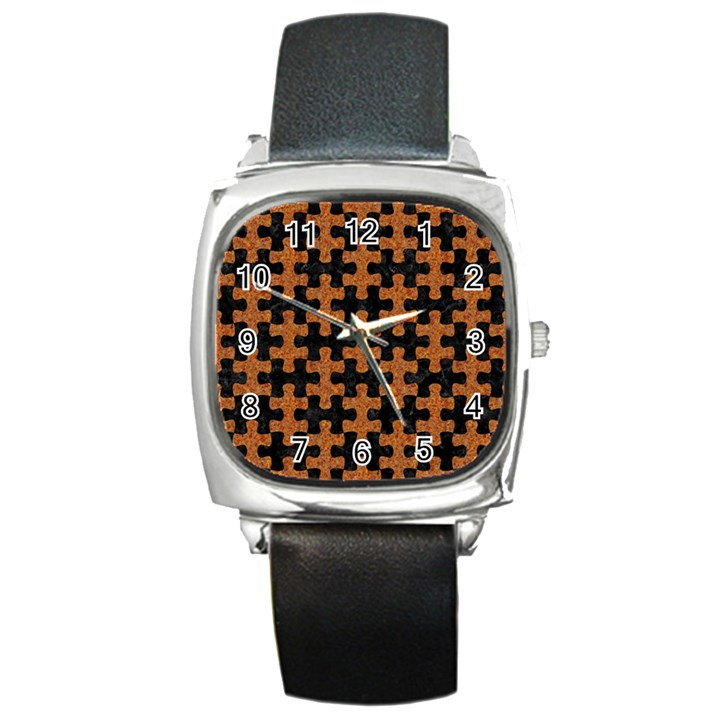 PUZZLE1 BLACK MARBLE & RUSTED METAL Square Metal Watch