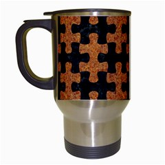 Puzzle1 Black Marble & Rusted Metal Travel Mugs (white)
